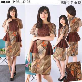 Dress Batik Peplum Kombinasi