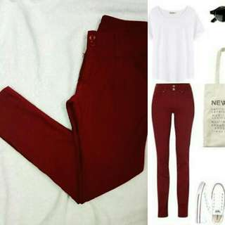 REPRICED!!! Maroon Stretchable Pants