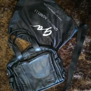 Ori & Authentic Genuine Leather Giorgio Agnelli (ga) Sling Bag - Deep Black