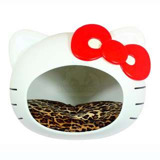 KITTY Shape Pet House (White w Red Bow) -- Suitable for both Dogs & Cats!