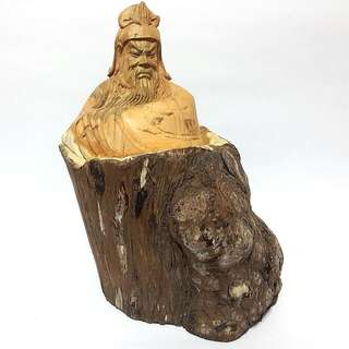 Natural Wood Carved Big Kuan Kong Figurine
