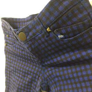 藍黑格合身褲