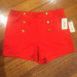 Red Forever 21 Shorts With Gold Buttons