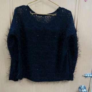 黑蕾絲加毛毛上衣