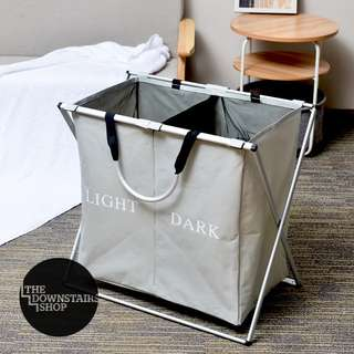 ⚡️[Instock] Large Grey Laundry Basket w/ Divider for Light/Dark Clothing