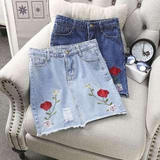 PO: Rose Denim Series: Frayed Button Skirt #1