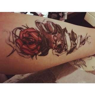 Rose Skull Arm Tattoo