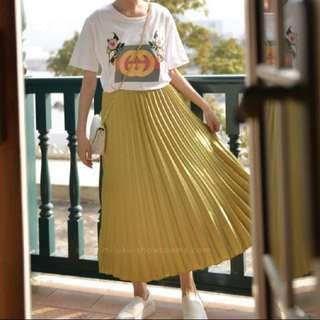 正韓 金屬光澤百褶裙