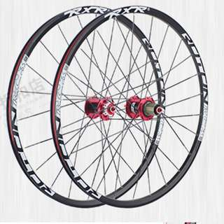 """5 Bearings Carbon Fibre RXR RC3 Wheelset For Hybrid and/or Mountain Bike 26/27.5"""" with 24 Flat Aero Spokes (Allow 11speed)(Extremely LOUD!!)"""