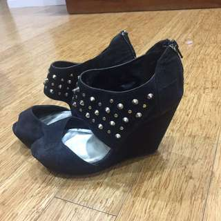Gold Studded Open Toe Wedges