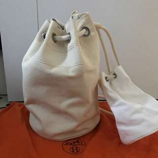 Hermes Cotton Canvas White Beach Bag Backpack (2bags) 99%new 100% Real