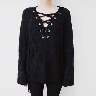V Neck Lace Up Knit Sweater