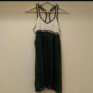 鉤針布蕾絲拼接點點洋裝