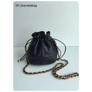 Chanel Vintage Mini Drawstring Sling Pouch