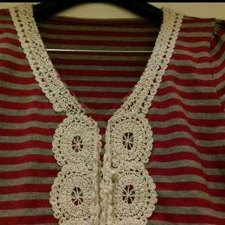 條紋蕾絲珠珠上衣 韓國製
