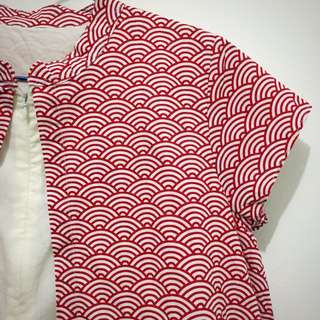 Red Top with Wave Pattern
