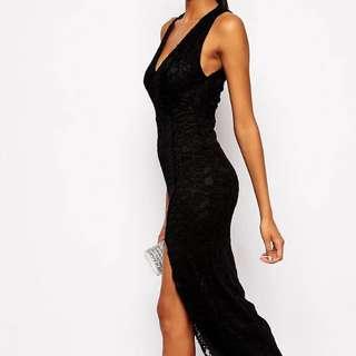 Asos tall Black Lace Maxi Dress