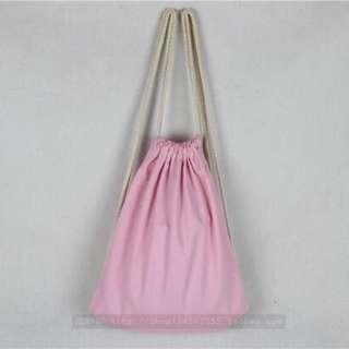 ✨ BABY PINK basic Drawstring A4 Bag // Instock
