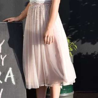 Forever New Ava Embellished Tutu Midi Skirt Pink Tulle