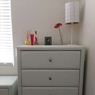 Wardrobe, Bedside Table And Table Lamp