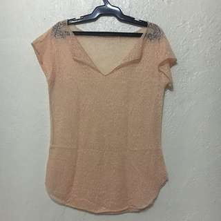 Peach Beach Cover Up Shirt