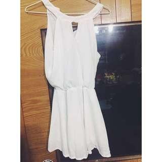 全白削肩傘洋短裙A字裙