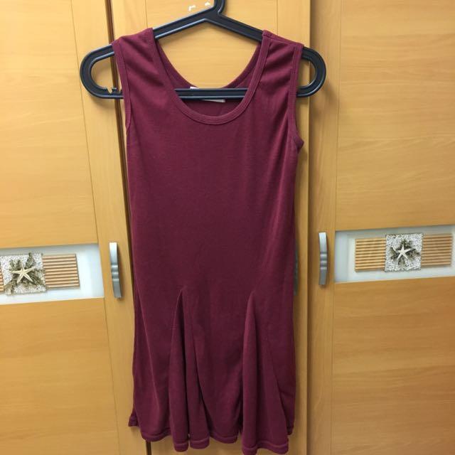 棗紅背心裙-二手#五月免購物直接送
