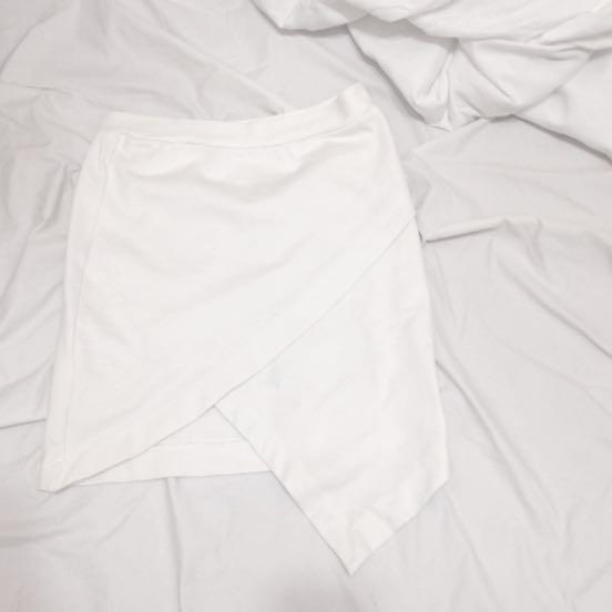 歐美白色貼身短裙