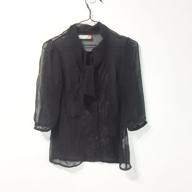 雪紡蕾絲襯衫