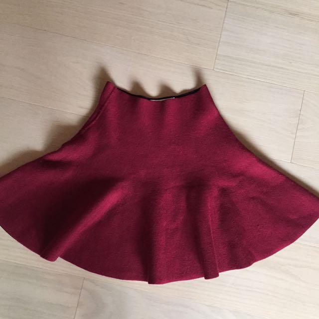 重磅數紅色花邊裙