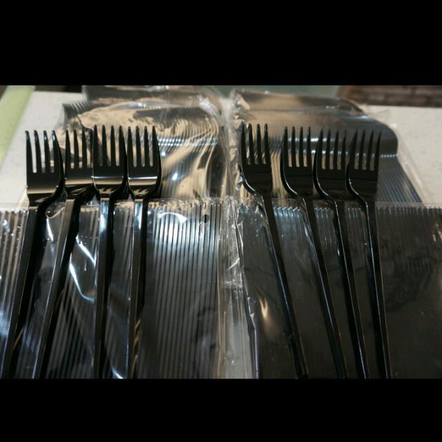 美式黑色塑膠叉子
