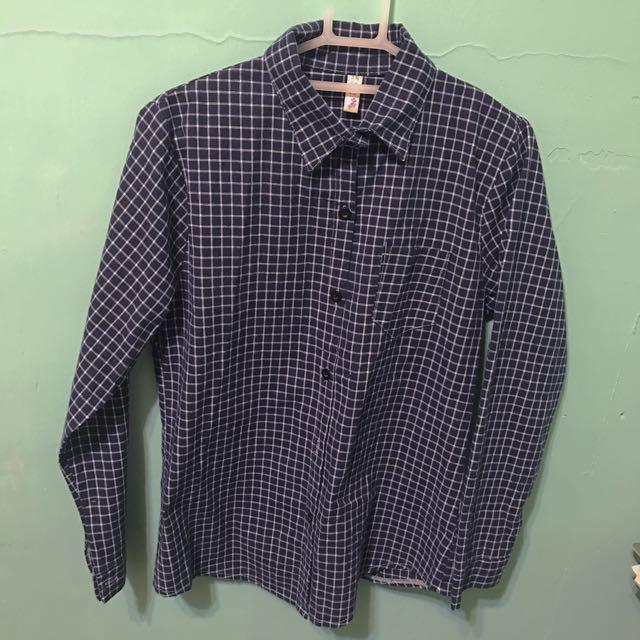 深藍細格子復古襯衫#200元襯衫