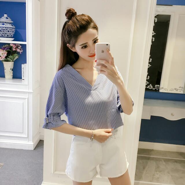 韓版顯瘦七分袖條紋襯衫