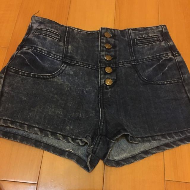 高腰鐵黑灰色牛仔短褲