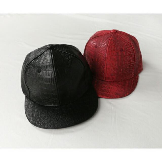 仿鱷魚皮 棒球帽(黑色)