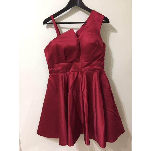 緞面單邊露肩洋裝紅 謝師宴 晚禮服