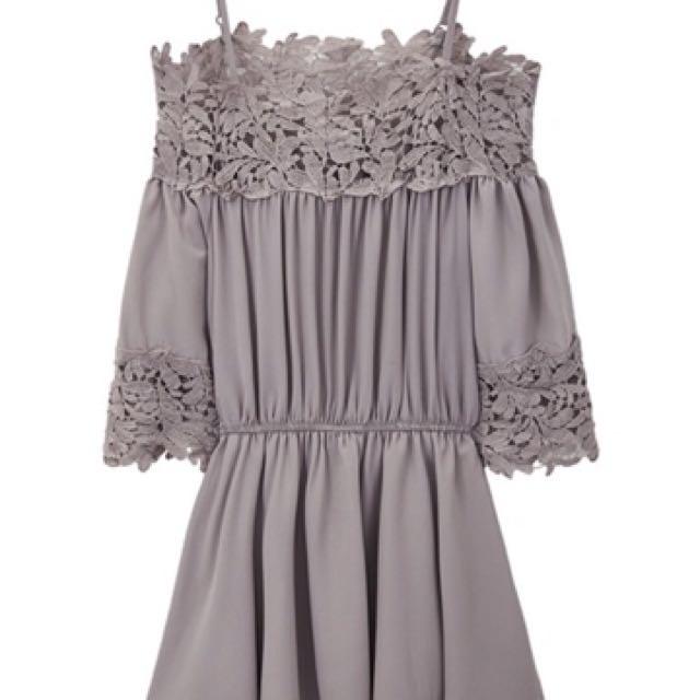 現貨-air space 2017春夏新款 灰色洋裝 花邊洋裝 短洋裝 短裙 七分袖 伸縮束腰洋裝 細肩帶洋裝 氣質洋裝
