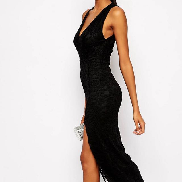 Asos tall Black Lace Maxi Dress