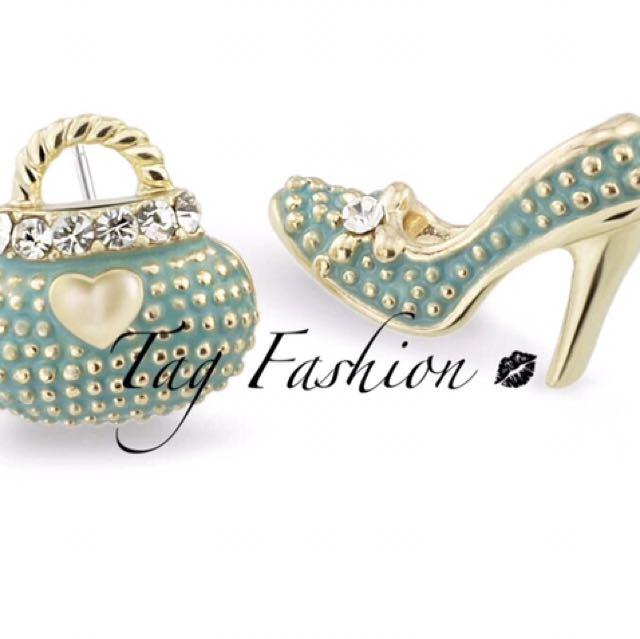 Asymmetric High Heel Shoe Bag Stud Earrings for Women Crystal Rhinestone Lady Girls Earrings