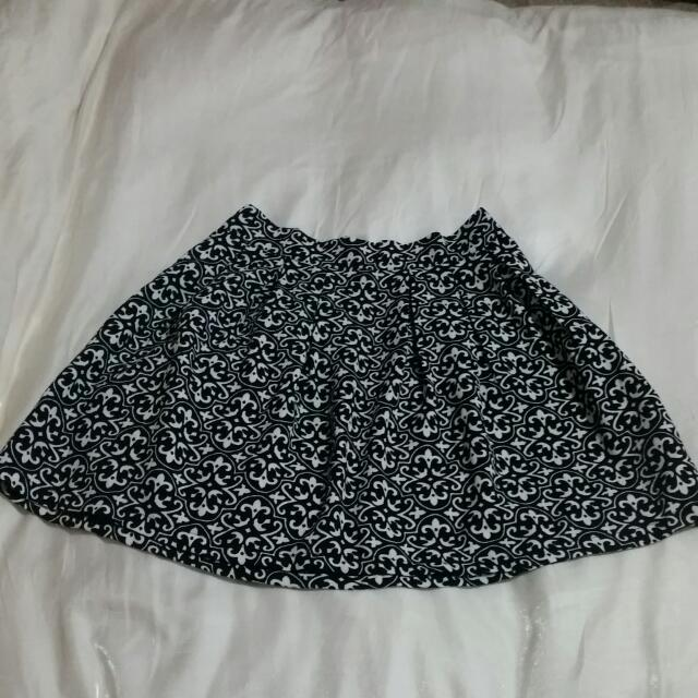 Black And White Skater Skirt