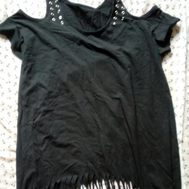 Black Cold Shoulder Fringe Top