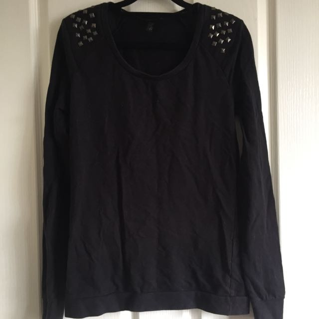 Black Pullover With Studs On Shoulders