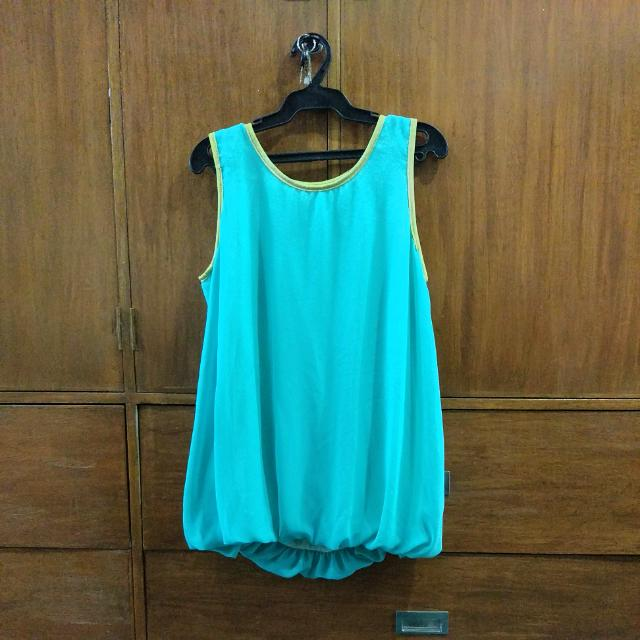 Blue Green Sleeveless Top