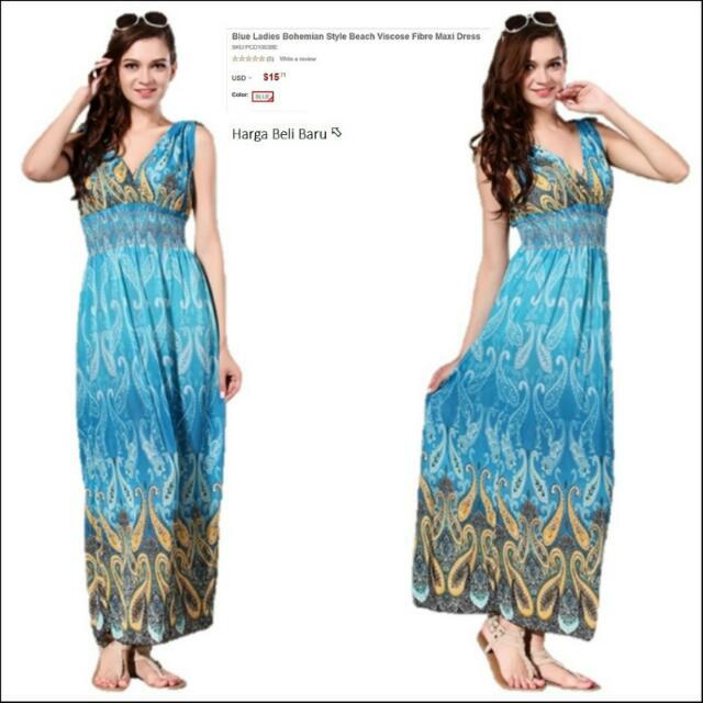 292ac0197d95b3 Blue Ladies Bohemian Style Beach Viscose Fibre Maxi Dress