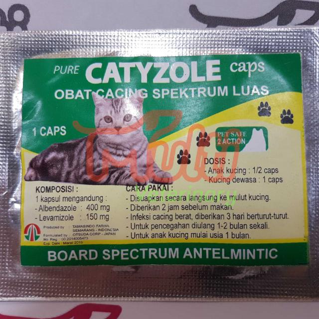 Catyzole Caps Capsul Isi 1 Kapsul Obat Anti Cacing Kucing Cat Antelmintik Anthelmintic Cacingan, Pet Supplies, Accessories on Carousell