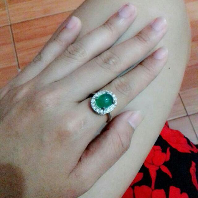 cincin batu zamrud ikatan silver biasa