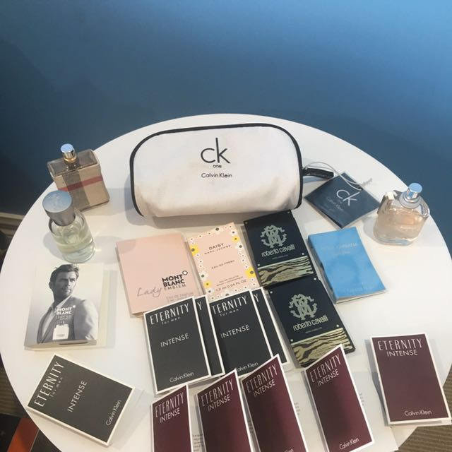 CK Cosmetic Bag & Samples + 30ml Burberry Fragrances