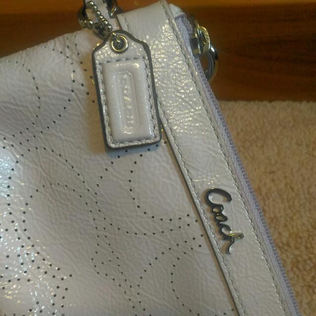 Coach Signature Lilac Patented Leather Wristlet