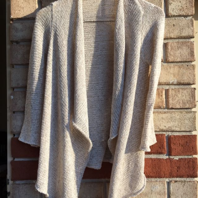 Cream Knit One Size Fits All Waterfall Cardi . Sleeve Length Is A Bit Longer Than 3/4