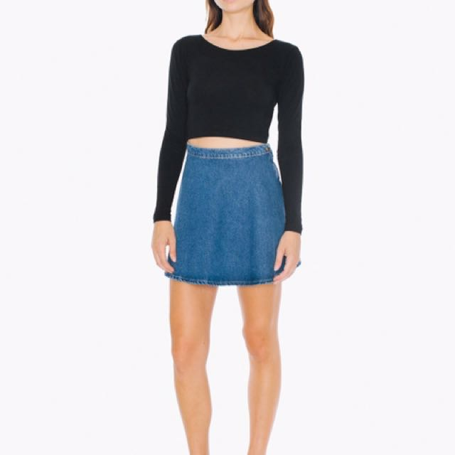 Dark Wash American Apparel Denim Skirt